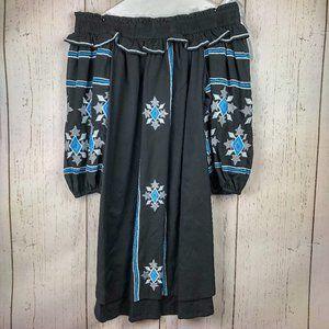 MISA Natalie embroidered black off shoulder dress